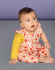 Combination ecru and pink flowered pattern baby girl LINAUCOMB / 21SG09L1CBL001