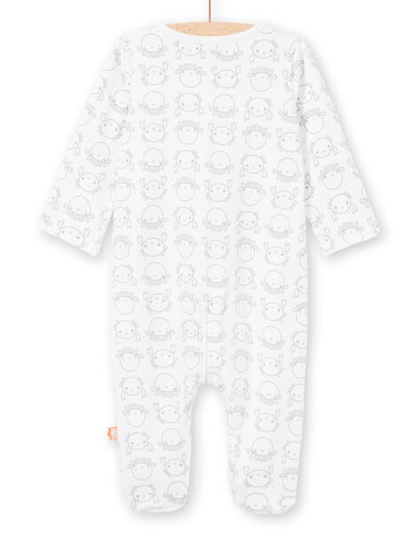 White and grey sleep suit with crabs and octopus print mixed birth LOU2GRE4 / 21SF05I2GRE000