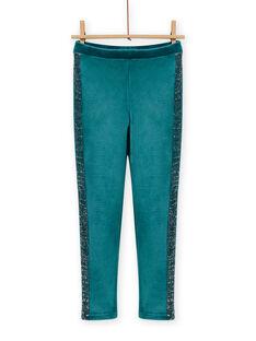 Girl's blue duck velvet legging MAJOLEG4 / 21W901N8PAN714