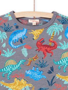 Boy's grey t-shirt with dinosaur print MOPATI3 / 21W902H1TMCJ913