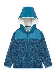 Hooded zip jacket in blue technical material child boy MOJOTEKGIL3 / 21W902N3GILC211