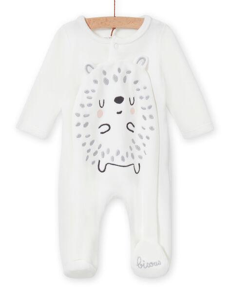 Mixed birth romper in ecru with hedgehog print MOU1GRE4 / 21WF0543GRE001