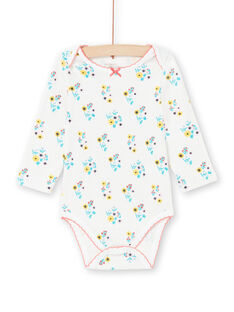Baby girl's ecru and turquoise floral print bodysuit MEFIBODAOP / 21WH13B4BDL001