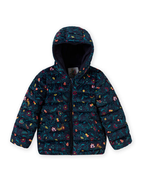 Quilted padded jacket with colorful floral print in velvet for girls MAVELDOUNE / 21W90154D3E070