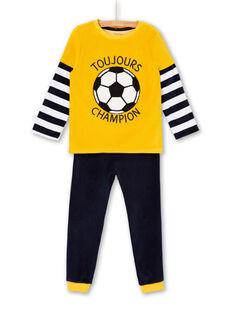 Pyjama t-shirt and pants yellow and dark blue boy child LEGOPYJFOO / 21SH125DPYJB107