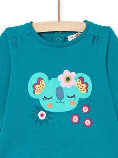 Baby girl duck blue long sleeve t-shirt with koala and flowers design MITUTEE2 / 21WG09K2TMLC217