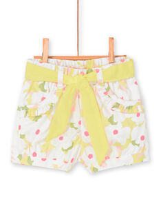 White and yellow shorts with floral print baby girl LIBALSHO / 21SG09O1SHO000