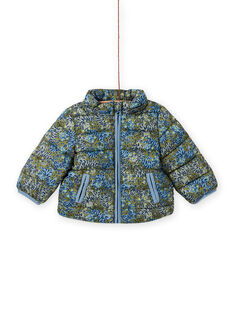 Baby boy's khaki green quilted down jacket with tiger print MUGRODOU / 21WG1051D3E604