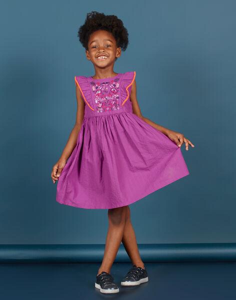 Girl's embroidered skater dress in violet MAPAROB2 / 21W901H2ROB712