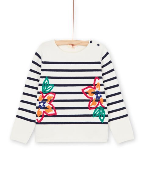 Off white and navy blue striped sweater LANAUPULL / 21S901P1PUL001