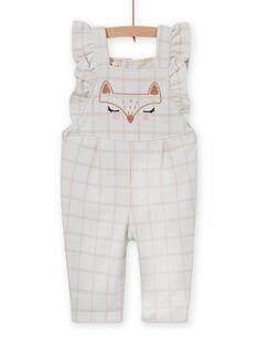 Baby girl milano plaid jumpsuit with fox pattern MISAUCOMB / 21WG09P1CBLA010