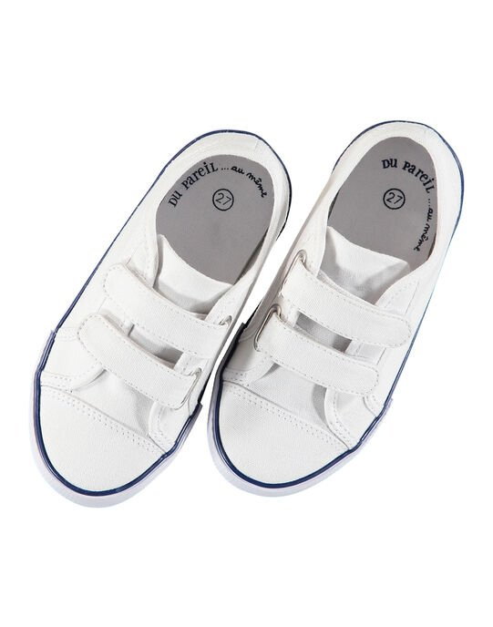 Boys' plain canvas trainers FGVELWHITE / 19SK36C2D16000