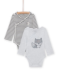 Set of 2 long sleeved double-breasted bodysuits with squirrel pattern for baby girls MOU2BOD3 / 21WF05D1BOD001