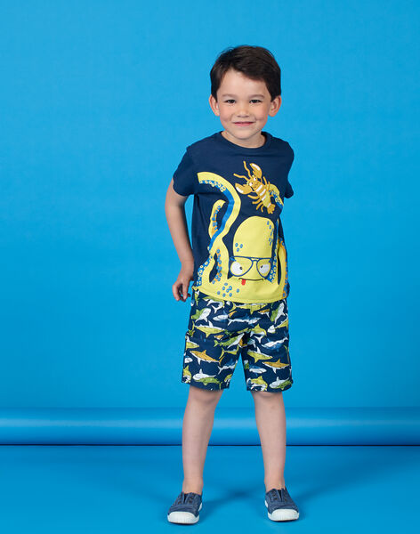 Blue T-shirt with octopus and lobster motif – Child boy LONAUTI1 / 21S902P2TMC070
