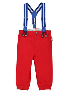 Baby boys' red trousers with braces FUCOPAN / 19SG1081PANF505