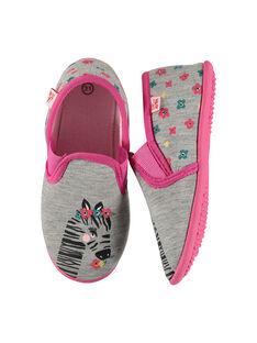 Girls' slip-on slippers FFSGZEBR / 19SK3531D0B943