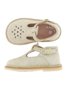 Baby girls' leather T-bar shoes CBFSALBASI3 / 18SK37W3D3H954