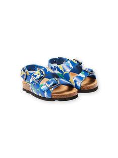 baby boy navy blue sandals with shark print LBGNUREQUIN / 21KK385CD0E070