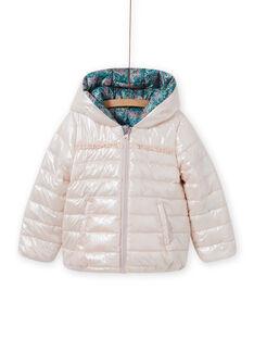 Girl's reversible hooded jacket with flower print MAKADOUNE / 21W90152D3E612