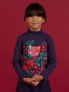 Girl's purple turtleneck t-shirt with fantasy design MAFUNSOUP / 21W901M1SPLH703