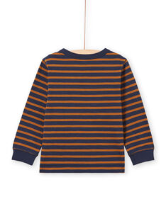 Boy's long sleeve navy blue and brown striped T-shirt MOJOTIRIB4 / 21W9022BTML812