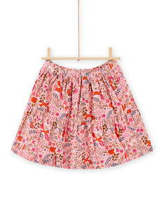 Old pink skirt with fancy flowery print in velvet child girl MASAUJUP2 / 21W901P1JUP303