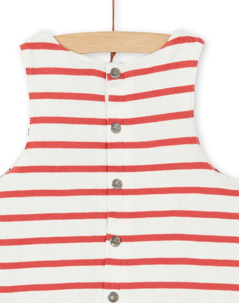 Reversible dungarees ecru and red cotton baby boy LUNOSAL / 21SG10L1SAL001