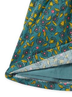 Baby girl's khaki flannel dress with floral and stripe print MIKAROB1 / 21WG09I1ROB612