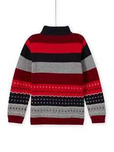 Boy's striped knitted sweater with jacquard pattern MOFUNPUL / 21W902M1PULC234