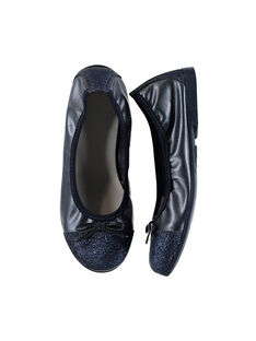 Girls' smart iridescent leather elasticated ballet pumps FFBALBLU / 19SK3531D41070