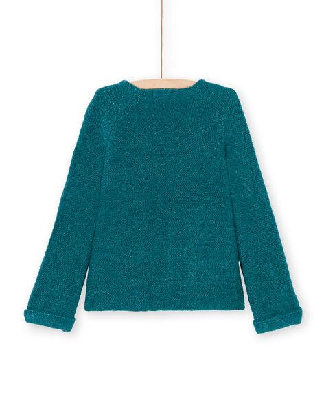 Girl's long sleeve vest plain blue duck MAJOCAR2 / 21W90115CAR714