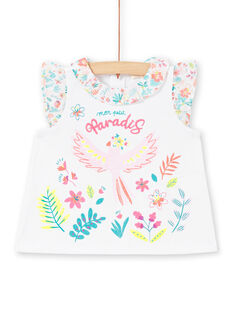 Baby Girl White Ruffle T-Shirt LIBONBRA / 21SG09W1BRA000