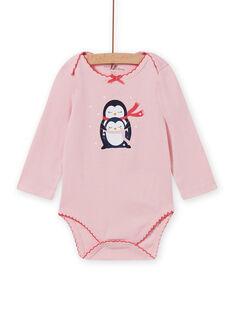 Baby girl's long sleeve bodysuit in pink with penguin print MEFIBODNEI / 21WH13C2BDLD314