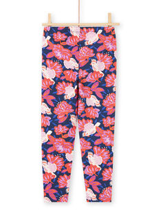 Girl's navy blue bird and flower print legging MYAPALEG / 21WI01H1CALC205