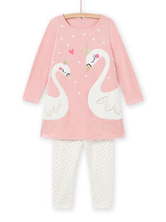 Child girl's old pink nightdress with fancy swans MEFACHUVEL / 21WH1192CHN303