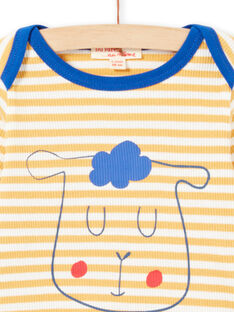 Baby Boy Yellow and White Stripes Long Sleeve T-Shirt MUJOTEE1 / 21WG1022TML117