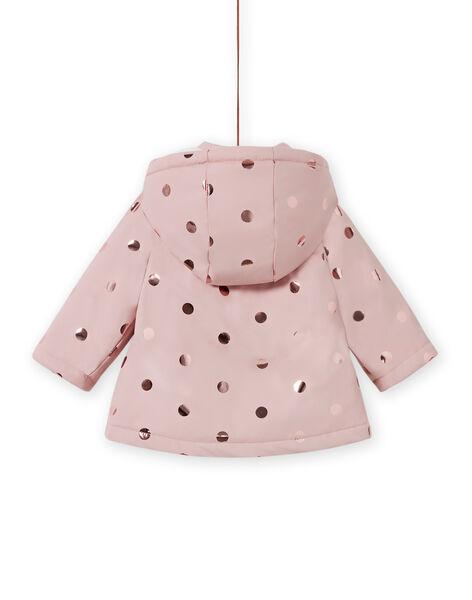 Baby girl pink raincoat with gold polka dots MIGOIMP / 21WG0951IMPD332