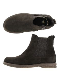 Girls' leather boots DFBOOTCHOC / 18WK35TCD0D802