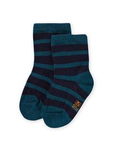 Baby boy duck blue striped socks MYUJOCHOR4 / 21WI1019SOQ714