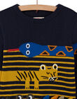 Night blue sweater with animal animations for boys MOKAPUL / 21W902I1PUL705