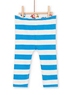 Reversible leggings white and blue baby boy car print LUHAPAN2 / 21SG10X2PAN001