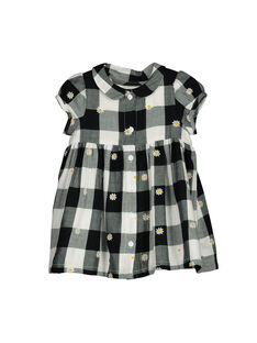 Baby girls' checked short-sleeved dress FILIROB3 / 19SG0923ROB001