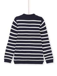 Boy's navy blue and white striped sweater MOJOPUL1 / 21W90213PUL001